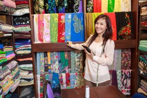 beautiful scarfs in the Old Quarter, Hanoi silk shop