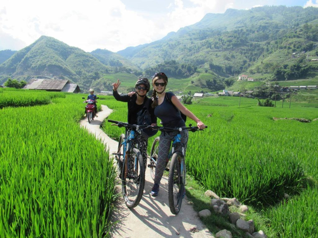Cycle through rice paddies