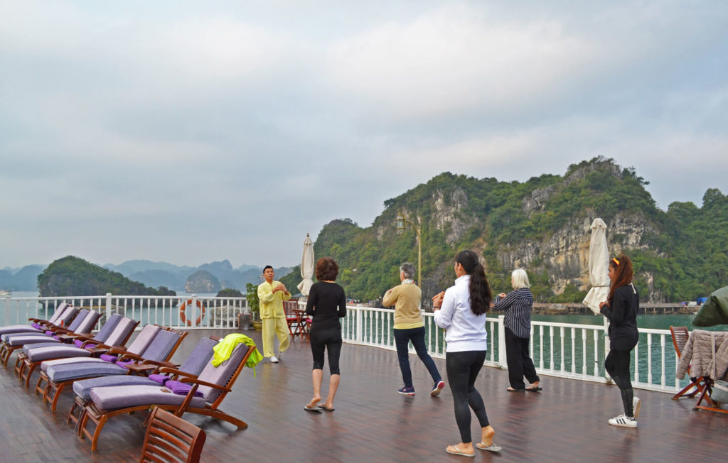 Tai Chi on top deck with magnificent view and serene atmosphere