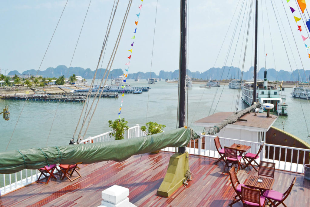 Tuan Chau Port - View from Indochina Sails cruise ship