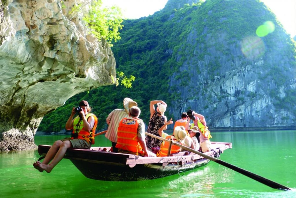 Sightseeing on boat in Cat Ba.