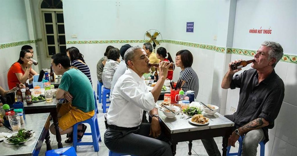 President Obama and Anthony Bourdain meet up in Hanoi for some beer and bun cha.